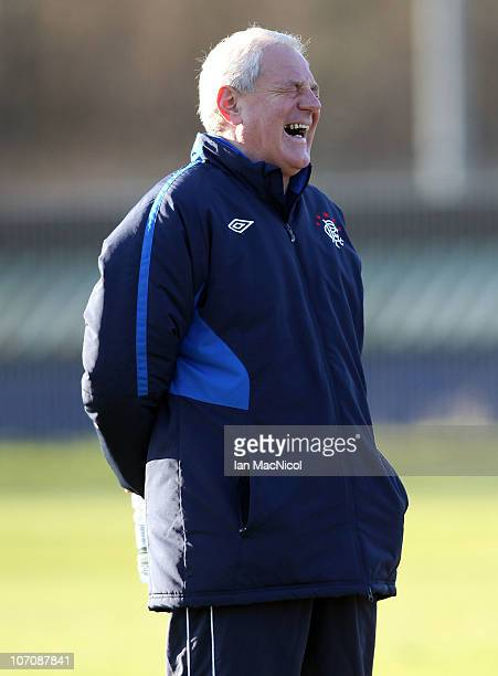 Walter Smith manager of Glasgow Rangers laughs during training at Murray Park prior to tomorrow night's UEFA Champions League Group C football match...