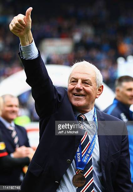 Walter Smith manager of Rangers celebrates after winning the Clydesdale Bank Premier League at Rugby Park on May 15 2011 in Kilmarnock Scotland