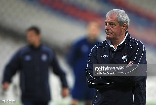 Walter Smith of Rangers looks on during the Glasgow Rangers training session at Gerland Stadium, ahead of their Champions League match against Lyon...