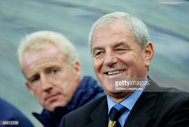Walter Smith the Scotland manager shares a joke with assistant Tommy Burns during the group 5 World Cup 2006 Qualifier between Norway and Scotland...