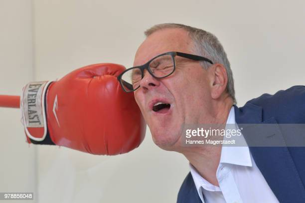 Caro Jost and her husband Walter Storms poses during Charles Schumann auctions some of his boxing gloves as a part of the Faust Festival at Walter...