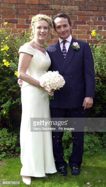 Walter Swinburn after marrying Alison Palmer at the Roman Catholic Church of Our Lady St John in Goring on Thames