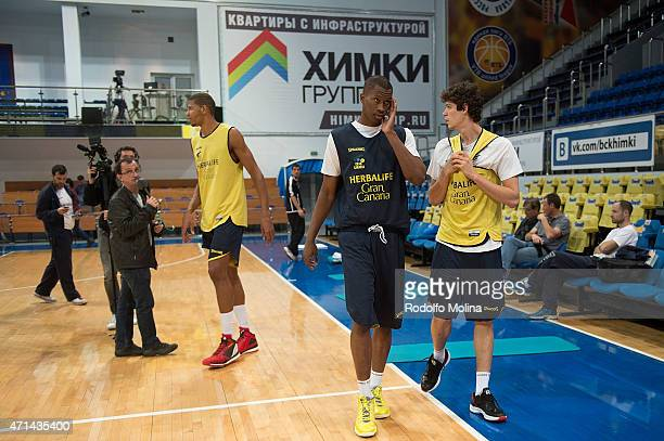 Walter Tavares #22 of Herbalife Gran Canaria Las Palmas Mouhamed Barro #5 and Oriol Pauli #21 during the Eurocup Basketball Final Practice at...