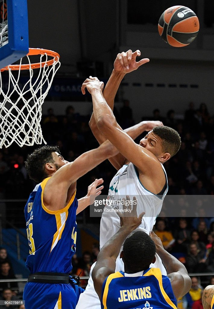 Walter Tavares, #22 of Real Madrid competes with Anthony Gill, #13 of Khimki Moscow Region during the 2017/2018 Turkish Airlines EuroLeague Regular Season Round 17 game between Khimki Moscow Region and Real Madrid at Arena Mytishchi on January 12, 2018 in Moscow, Russia.
