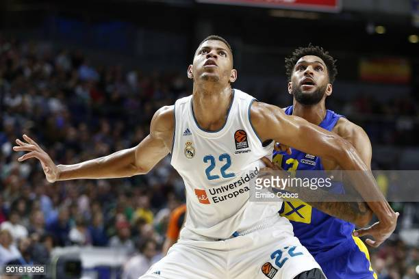 Walter Tavares #22 of Real Madrid in action during the 2017/2018 Turkish Airlines EuroLeague Regular Season Round 16 game between Real Madrid and...