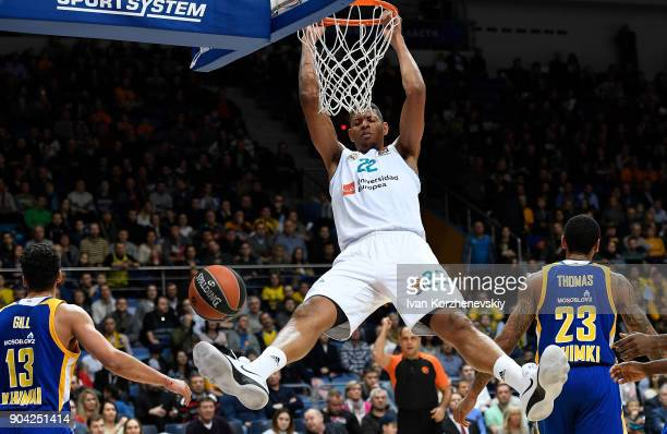 Walter Tavares #22 of Real Madrid in action during the 2017/2018 Turkish Airlines EuroLeague Regular Season Round 17 game between Khimki Moscow...