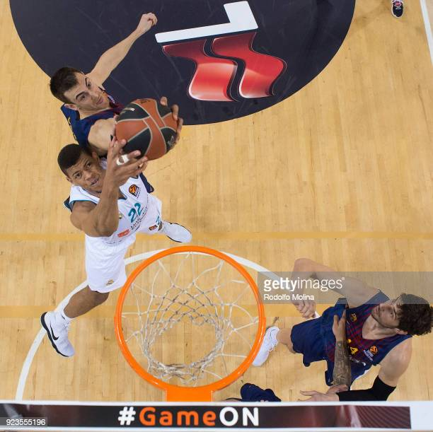 Walter Tavares #22 of Real Madrid in action during the 2017/2018 Turkish Airlines EuroLeague Regular Season game between FC Barcelona Lassa and Real...