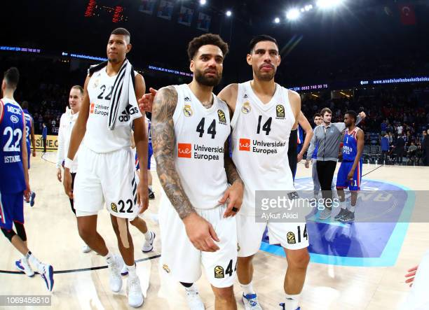 Walter Tavares #22 of Real Madrid Jeffery Taylor #44 of Real Madrid and Gustavo Ayon #14 of Real Madrid celebrate their victory during the 2018/2019...