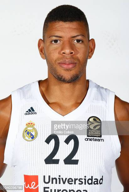 Walter Tavares #22 of Real Madrid poses during the Real Madrid 2018/2019 Turkish Airlines EuroLeague Media Day at Sports City of Real Madrid on...