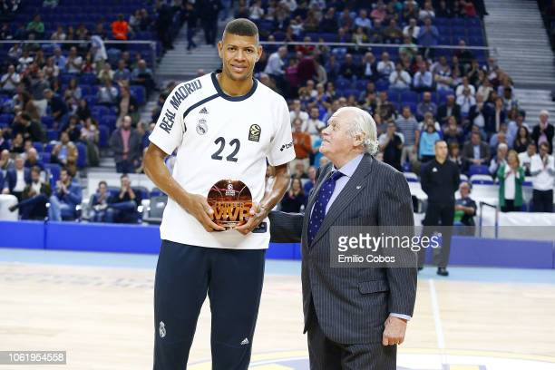 Walter Tavares #22 of Real Madrid receives the October MVP Euroleague Trophy in action during the 2018/2019 Turkish Airlines EuroLeague Regular...