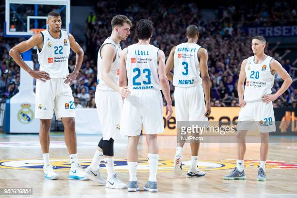 Walter Tavares Luka Doncic Sergio Llull Anthony Randolph Jaycee Carroll of Real Madrid during the Turkish Airlines Euroleague Play Offs Game 4...