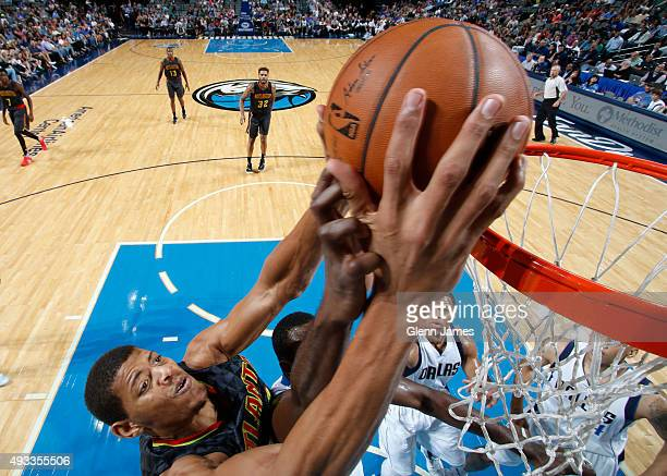 Walter Tavares of the Atlanta Hawks dunks the ball against the Dallas Mavericks during a preseason game on October 16 2015 at the American Airlines...
