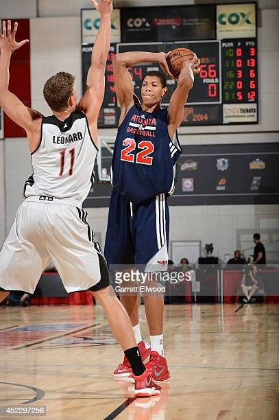 Walter Tavares of the Atlanta Hawks looks to pass the ball against the Portland Trail Blazers at the Samsung NBA Summer League 2014 on July 17 2014...