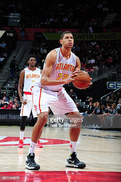 Walter Tavares of the Atlanta Hawks shoots a free throw during the game against the San Antonio Spurs on December 12 2015 at Philips Arena in Atlanta...