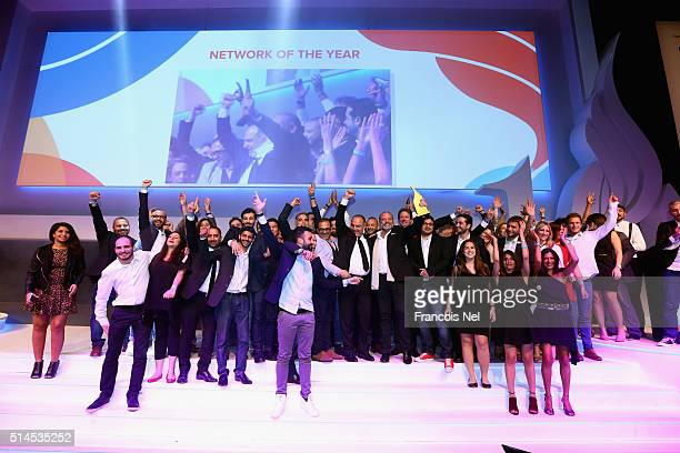 J Walter Thompson collecting the Network of the Year award during Dubai Lynx Awards 2016 at Madinat Jumeirah on March 9 2016 in Dubai United Arab...