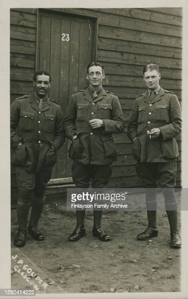 Walter Tull with fellow officers, probably taken in the spring of 1917 at Gailes on the west coast of Scotland, where Walter was undertaking his...