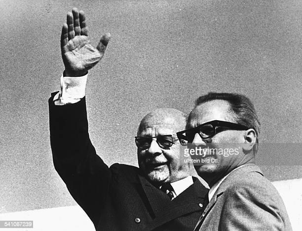 GDR Walter Ulbricht *30061893 Politician GDR Walter Ulbricht with Erich Honecker 1971