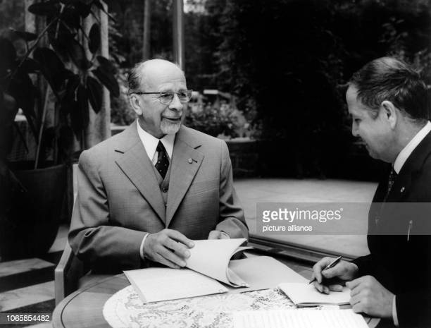 Walter Ulbricht receives editorinchief of ADN Heinz Schindler on the 6th of September in 1971 in the country estate of the council of state in East...