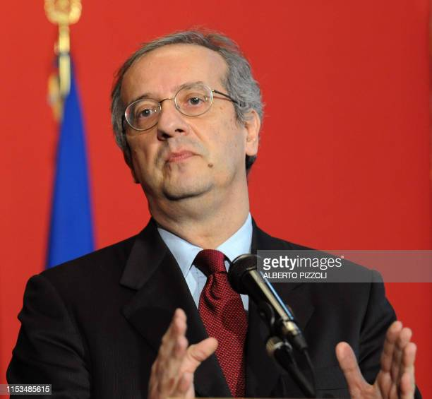 Walter Veltroni, head of the newly formed centre-left Democratic Party answers journalists' questions after a meeting with Italian Senate Speaker...