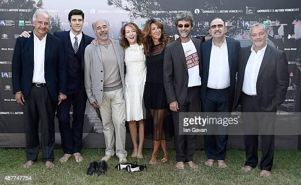 Walter Veltroni Roberto Bolle Giorgio Diritti Cristiana Capotondi guest Silvio Soldini Elio and guest attend a photocall for 'Milano 2015' during the...