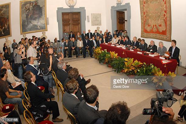 Walter Veltroni, the Mayor of Rome speaks with media and the Boston Celtics during a press conference outside the mayors office as part of the 2007...