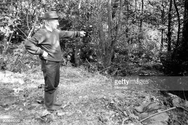 Walter Watkins retired gamekeeper points to the stop where he found the body of murder victim Pauline Floyd 21st September 1973 The Saturday Night...