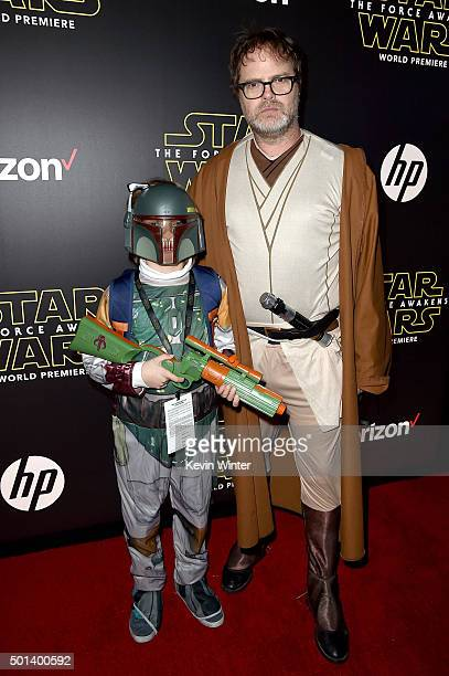Walter Wilson and actor Rainn Wilson attend the World Premiere of Star Wars The Force Awakens at the Dolby El Capitan and TCL Theatres on December 14...