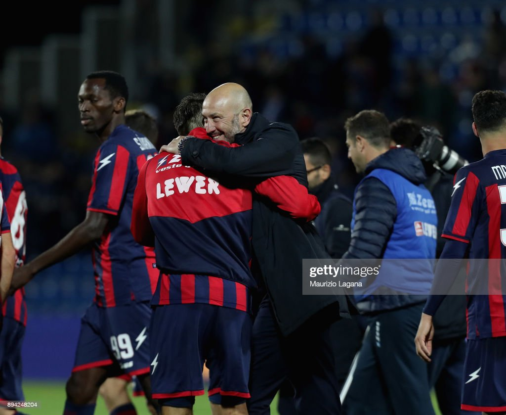 Walter Zenga and Ante Budimir of Crotone celebrate after the Serie A match between FC Crotone and AC Chievo Verona at Stadio Comunale Ezio Scida on December 17, 2017 in Crotone, Italy.