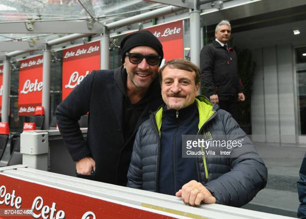 Walter Zenga and Giacomo Poretti attend the Serie A match between FC Internazionale and Torino FC at Stadio Giuseppe Meazza on November 5 2017 in...