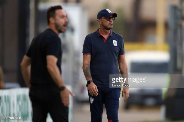 Walter Zenga coach of Cagliari looks on during the Serie A match between Cagliari Calcio and US Sassuolo at Sardegna Arena on July 18 2020 in...