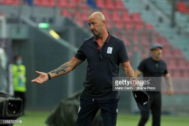 Walter Zenga head coach of Cagliari Calcio reacts during the Serie A match between Bologna FC and Cagliari Calcio at Stadio Renato Dall'Ara on July...