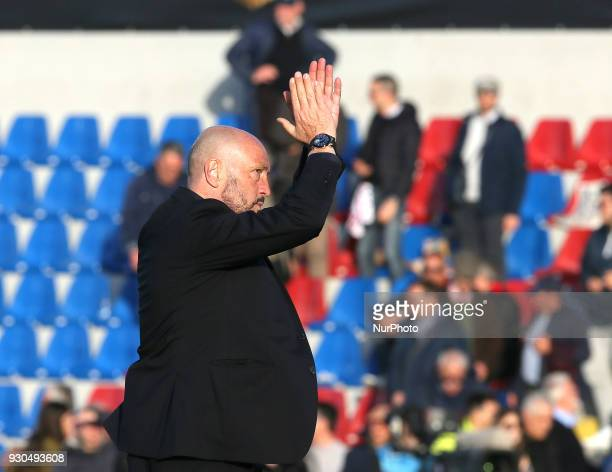 Walter Zenga of Crotone celebrates the victory the serie A match between FC Crotone and UC Sampdoria at Stadio Comunale Ezio Scida on March 11 2018...