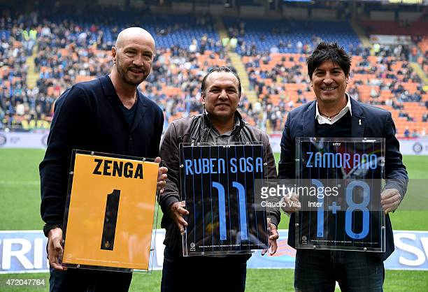 Walter Zenga Ruben Sosa and Ivan Zamorano attend Serie A match between FC Internazionale Milano and AC Chievo Verona at Stadio Giuseppe Meazza on May...