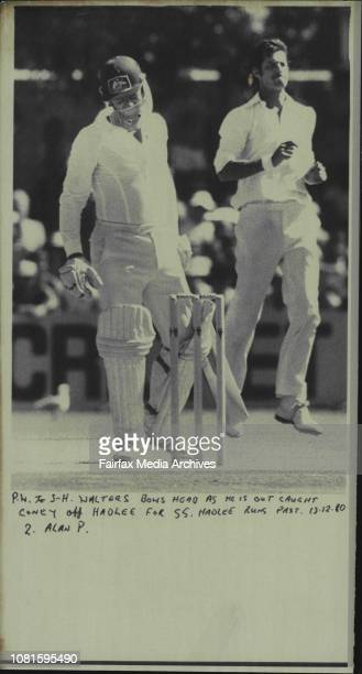 Walters bows head as he is out caught Coney off Hadlee for 55 Hadlee runs past December 13 1980