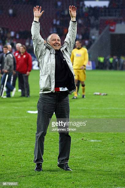 Walther Seinsch, president of Augsburg celebrates after the Second Bundesliga match between FC Augsburg and TSV 1860 Muenchen at Impuls Arena on May...