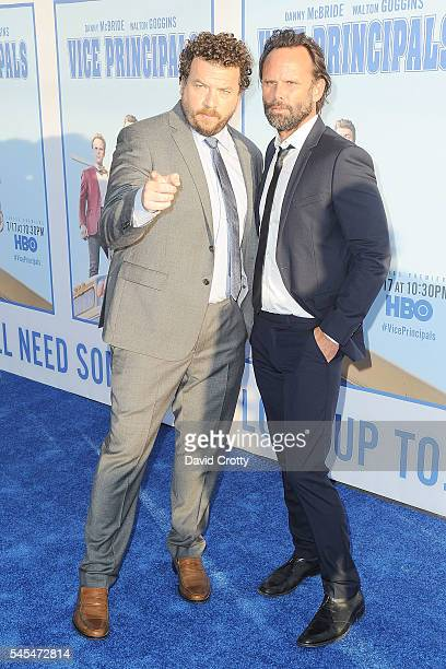 Walton Goggins and Danny McBride attend the HBO Comedy Series Vice Principals Los Angeles premiere at Avalon on July 7 2016 in Hollywood California