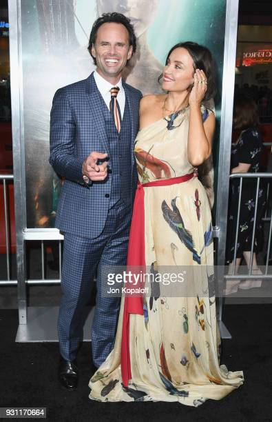 Walton Goggins and Nadia Conners attend the Los Angeles Premiere 'Tomb Raider' at TCL Chinese Theatre IMAX on March 12 2018 in Hollywood California