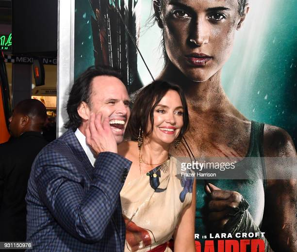 Walton Goggins and Nadia Conners attend the Premiere Of Warner Bros Pictures' 'Tomb Raider' at TCL Chinese Theatre on March 12 2018 in Hollywood...