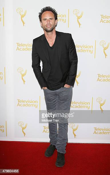 Walton Goggins arrives at The Television Academy presents An Evening with 'Justified' held at Leonard H Goldenson Theatre on March 19 2014 in North...