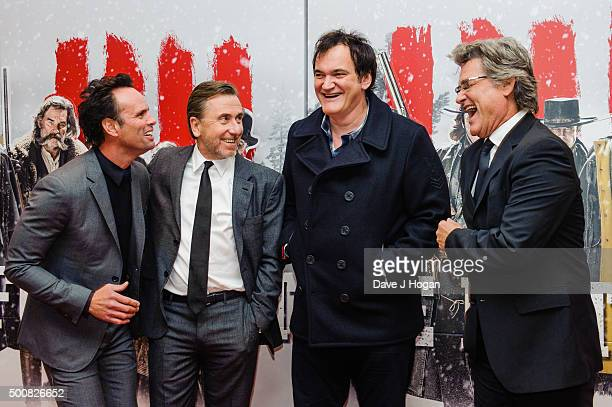 Walton Goggins Tim Roth Quentin Tarantino and Kurt Russell attend the European Premiere of The Hateful Eight at Odeon Leicester Square on December 10...