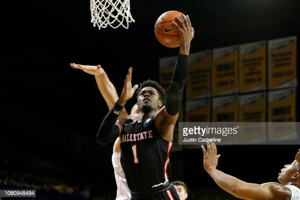 J Walton of the Ball State Cardinals looks shoots the ball in the game against the Toledo Rockets during the second half at Savage Arena on January...