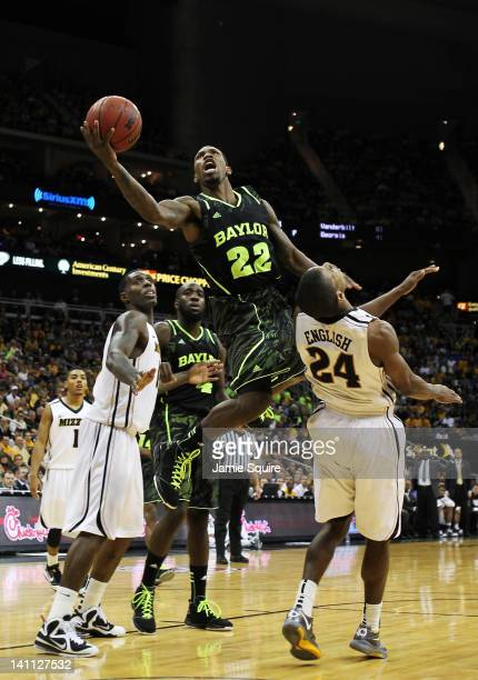 Walton of the Baylor Bears shoots over Kim English of the Missouri Tigers in the second half during the championship game of the 2012 Big 12 Men's...