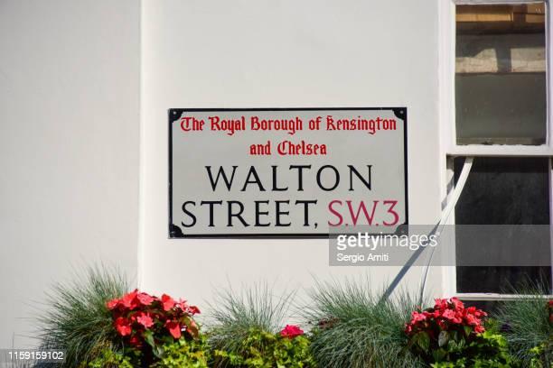walton street sign - knightsbridge stock pictures, royalty-free photos & images