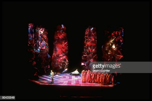 Waltraud Meier William Pell and chorus in production by Wolfgang Wagner of Richard Wagner's opera Parsifal at Festspeilhaus