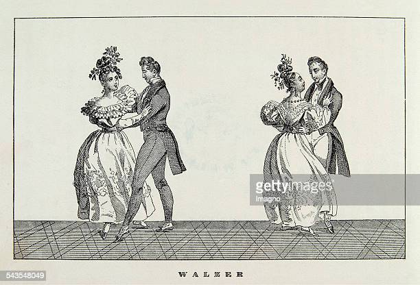 Waltz Two dance couples About 1840 Lithograph