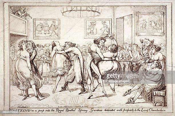 'Waltzing Or a peep into the Royal Brothel Spring Gardens' London c1816 Within an enclosure men with lewd expressions dance with scantily clad women...