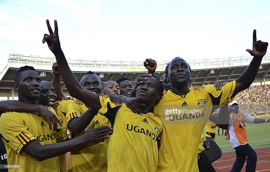 Walusimbi Godfrey (2-R)  celebrates with : News Photo