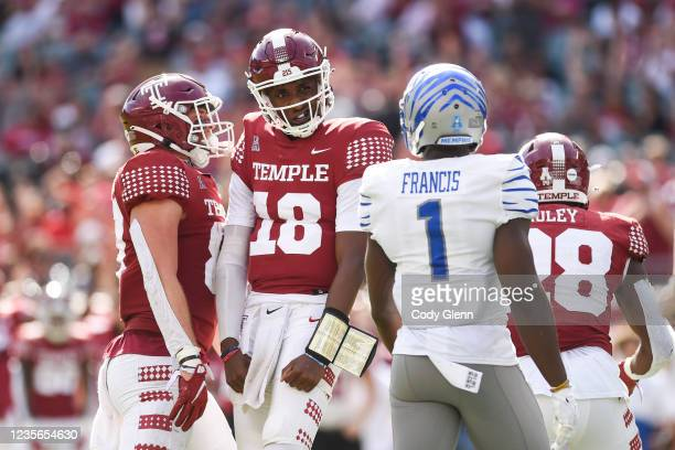 Wan Mathis of the Temple Owls celebrates a second half touchdown against the Memphis Tigers at Lincoln Financial Field on October 2, 2021 in...
