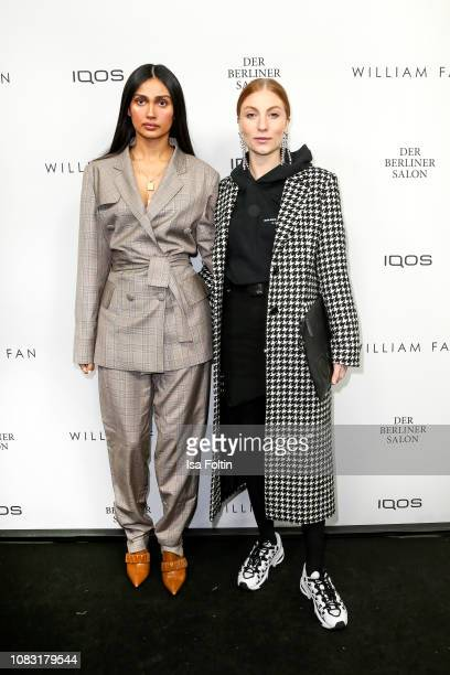 Wana Limar and Influencer Lisa Banholzer arrive at the William Fan Defile during 'Der Berliner Salon' Autumn/Winter 2019 at Knutschfleck on January...