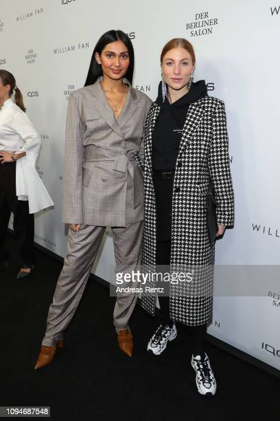 Wana Limar and Lisa Banholzer attend the William Fan Defile during 'Der Berliner Salon' Autumn/Winter 2019 at Knutschfleck on January 15 2019 in...